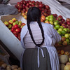 Back view of a woman in Peru market
