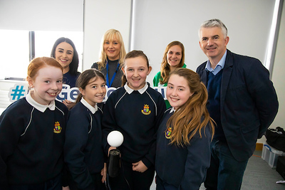 "FREE TO USE IMAGE. Pictured during Science Week with WIT (Waterford Institute of Technology) by Calmast. Pictured at Carrickphierish Library with James Soper's show ""Bend It Like Beckham"". Pictured are pupils from 5th class Our Ladies Mercy School Waterford are Saidhbh Ryan, Aisling Murphy, Ellie Collins Guilfoyle and Saoirse Maley-Flavin with Meave Breathnach and Ria White from Eirgen Pharma, Cordula Weiss WIT Calmast and James Soper. Picture: Patrick Browne"
