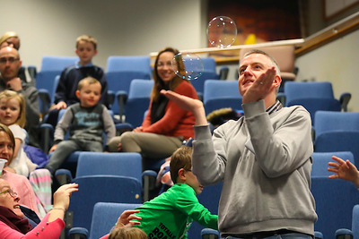 FREE TO USE IMAGE. Pictured during Science Week with WIT (Waterford Institute of Technology) by Calmast. Pictured during the Bubble show with the London Science Museum at WIT. Picture: Patrick Browne