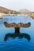 Whale tail sculpture in Cartagena port at Murcia