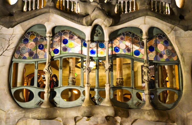 Looking Out<br /> Antoni Gaudí's Casa Batllo<br /> Barcelona