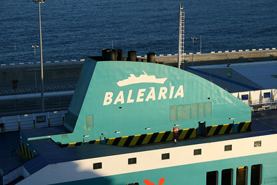 F/B BORJA DOS moored in Barcelona. Baleria logo on the funnel.