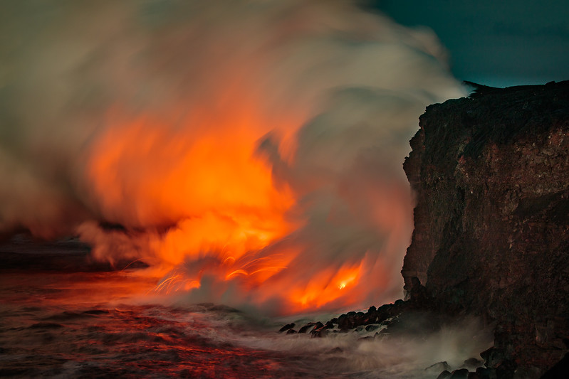 Lava Flow - Ocean Entry-By John German