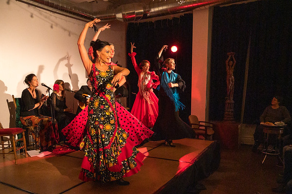 Flamenco show with Sali Gutierrez and her students at La Bella Vita on April 8, 2018.  Flamenco show with Sali Gutierrez and her students at La Vita Bella Cafe on November 15, 2019.  Show also featured Steve Mullins, guitar, and Marisol Serrano and Marisa Perez, cantaora.