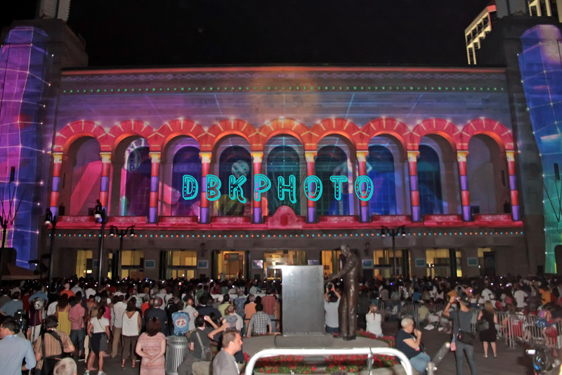 """ATLANTIC CITY, NJ - JULY 04:  A 3D light and sound show called """"Duality"""" using Boardwalk Hall as a backdrop was presentedt for 4th Of July Concert And Firework Celebration at Kennedy Plaza on July 4, 2012 in Atlantic City, New Jersey"""