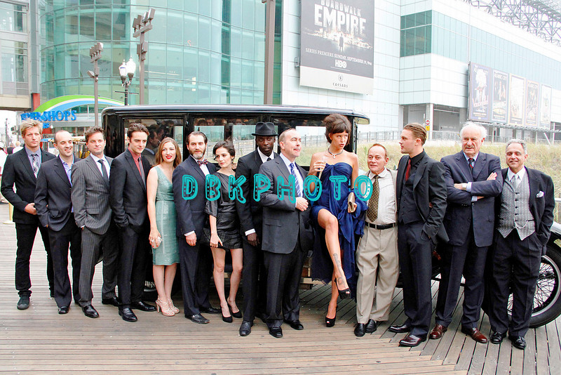 """ATLANTIC CITY, NJ SEPTEMBER 16, 2010 """"Boardwalk Empire"""" has it's Red Carpet and Premier HBO showing at Caesars Atlantic City Thursday night.<br /> The cast of Boardwalk Empire pose in front of a 20's automobile on the Atlantic City Boardwalk"""