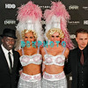"""ATLANTIC CITY, NJ SEPTEMBER 16, 2010 """"Boardwalk Empire"""" has it's Red Carpet and Premier HBO showing at Caesars Atlantic City Thursday night.<br /> Michael K. Williams and Vincent Piazza pose with showgirls"""