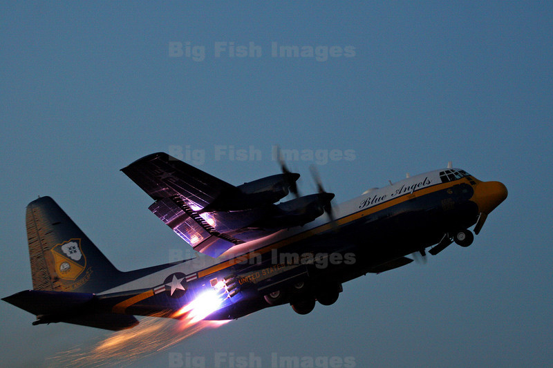 """FAT ALBERT""  C-130 support ship for the Blue Angles shows off its JATO (jet assisted take-off) capability"