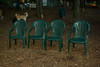 4 green chairs