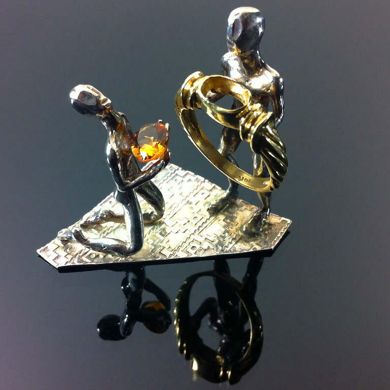 """""""THE STONE BEARER""""  STERLING SILVER & 14K GOLD. SCULPTURE BY FOUNDER ... PETER JOHANNES"""