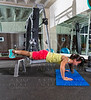 bench push up woman at gym workout