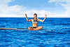 Yoga girl over SUP Stand up Surf board