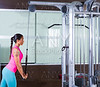 Triceps pressdown high pulley workout woman
