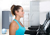 Gym treadmill women indoor exercise blue eyes