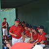 The Rebels get focused in the dugout.