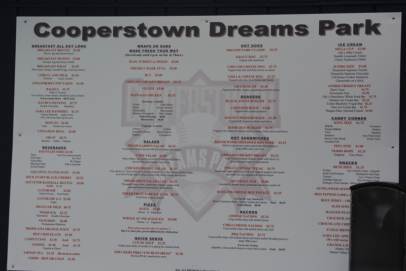 The snack bar menu at the Cooperstown Dreams Park.