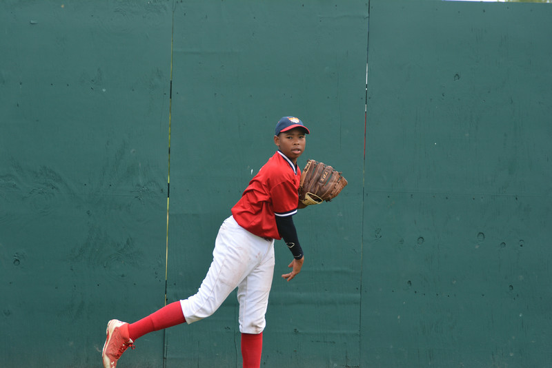 James Jones, Jr. warms up at the Cooperstown Dreams Park.