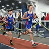 Winnacunnet's Freshman runners (L to R) Camden Leno (5:27.30) and Devan Sack (5:28.00) in The Boys 1500 Meter Run during Saturday's NH Indoor Track and Field League Meet @ The Paul Sweet Oval, UNH on 12-21-2014.  Matt Parker Photos.