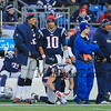 Patriots QB #12 Tom Brady and QB #10 Jimmy Garoppolo on the sidelines while the Patriots Defense is in the field during Sunday's NFL Football game between The New England Patriots and The Buffalo Bills on 12-28-2014 @ Gillette Stadium, Foxborough Mass.  Matt Parker Photos
