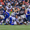 Patriots WR #80 Danny Amendola breaks a Buffalo tackle and runs for yardage during Sunday's NFL Football game between The New England Patriots and The Buffalo Bills on 12-28-2014 @ Gillette Stadium, Foxborough Mass.  Matt Parker Photos