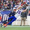Bills WR #15 Chris Hogan attemps to make a catch but it is broken up by Patriots S #23 Patrick Chung during Sunday's NFL Football game between The New England Patriots and The Buffalo Bills on 12-28-2014 @ Gillette Stadium, Foxborough Mass.  Matt Parker Photos