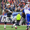 Patriots QB #12 Tom Brady looks down field for a receiver during Sunday's NFL Football game between The New England Patriots and The Buffalo Bills on 12-28-2014 @ Gillette Stadium, Foxborough Mass.  Matt Parker Photos