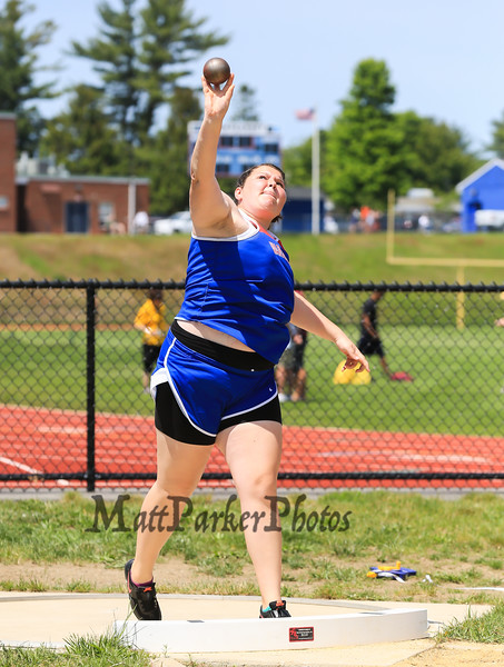 Winnacunnet's Corina Chao throws 35-09.00 in the Girls Shot Put during Sunday's NHIAA Division 1 Track and Field Championships @ Winnacunnet High School on 6-1-2014.  Matt Parker Photo