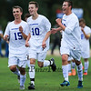 Winnacunnet players #15 Brandon Young, #10 Tyler Hiney and #22 Ben Gleason are all smiles after winning their first game of the season after Friday's Div I Boys Varsity Soccer game between Winnacunnet and Memorial High Schools on 10-3-2014 @ Winnacunnet High School.  Matt Parker Photo
