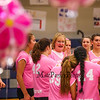 Winnacunnet's Head Coach Lorie Garand speaks with her team during a timeout during the Breast Cancer Awareness Pink Night at Winnacunnet Girls Varsity Volley Ball vs Merrimack High School on Wednesday 10-8-2014 @ WHS.  Matt Parker Photo
