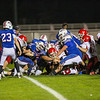 Spaulding's #2 Josh Lapointe is stopped a foot from the goal line as Winnacunnet's #79 Cody Pierce, #51 Sean Cotter, and #54 Derek Clough plus others prevent the touchdown during Friday Night's DIV I Football game between the Winnacunnet Warriors  vs Spaulding High School on Friday 10-31-2014 @ WHS.  Matt Parker Photo