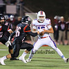 Winnacunnet's Brian Auffant turns to make a play and finds Bedford's #26 Colin Cashin bearing down on him during Friday Night's Div I Football game Winnacunnet vs Bedford High Schools on 9-19-2014 @ Bedford.  Matt Parker Photo