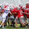 Winnacunnet Boys JV Football vs Pinkerton Academy @ Winnacunnet High School on Monday 9-8-2014.  WHS 28 Pinkerton 22.  Matt Parker Photo