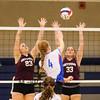 Winnacunnet Warriors Girls Varsity Volleyball vs the Grizzlies of Goffstown High School on Monday 10-19-2015 @ WHS.  Matt Parker Photos