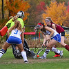 Winnacunnet's #17 Alison Hildreth takes a shot on the goal with Concord's Goal Keeper Colleen Casey kicking the ball away with Winnacunnet's #3 Sophia Cheever and Concord's #19 Emily Otto during Sunday's Quarterfinal Girls Field Hockey game between Winnacunnet and Concord High Schools on 10-25-2015 @ WHS.  Bryce Parker Photos