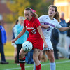 Winnacunnet's #3 Isabella Loffredo defends against Astros #15 Keara Doolan during Wednesday's Div I Girls Soccer game between Winnacunnet High School and Pinkerton Academy on 10-7-2015 @ WHS.  Matt Parker Photos