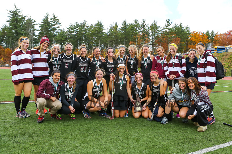 Portsmouth Clippers players and coaches pose for a photo with the Runner-Up Plaque after the NHIAA DIV II Girls Field Hockey Championship game between the Portsmouth Clippers and the Lebanon Raiders on Sunday 11-1-2015 @ Bedford HS.  Matt Parker Photos