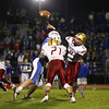 Clippers Quarkerback #9 Cody Graham throws a pass with Clippers #21 Joey Auger blocking Winnacunnet's #68 Gabe Paster during Friday Night's Football game between Winnacunnet and Portsmouth High Schools on 10-16-2015 @ WHS.  Matt Parker Photos