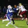 Winnacunnet's #20 Matt Havey and #8 Liam Viviano tip the ball into the hands of Clippers #80 Justin Lent for a touchdown during Friday Night's Football game between Winnacunnet and Portsmouth High Schools on 10-16-2015 @ WHS.  Matt Parker Photos
