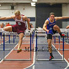 Portsmouth's Edward Carroll (2nd 7.90) and Winnacunnet's Billy Powers (1st 7.90) clear hurdles in the Boys 55m hurdles at Sunday's Indoor Winter Track Meet @ the Paul Sweet Oval at UNH on 12-20-2015.  Matt Parker Photos