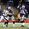 Patriots QB #12 Tom Brady passes over the hands of Eagles #98 Connor Barwin with help from a block by Patriots #61 Marcus Cannon during Sunday's NFL Football game between the New England Patriots and Philadelphia Eagles on 12-6-2015 @ Gillette Stadium, Foxborough MA.  Matt Parker Photos
