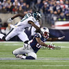 Patriots QB Tom Brady's pass to WR #82 Keshawn Martin is wide with Eagles coverage by #27 Malcolm Jenkins during Sunday's NFL Football game between the New England Patriots and Philadelphia Eagles on 12-6-2015 @ Gillette Stadium, Foxborough MA.  Matt Parker Photos