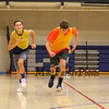 Winnacunnet Sophmores (L to R) Wesley Falzarano and Johnny Simmons hustle down the court during running conditioning drills during Wednesday's preseason  Varsity and JV Boys Basketball session on 12-9-2015 @ WHS.  Matt Parker Photos