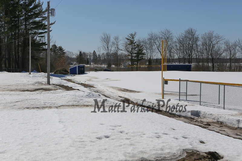 Winnacunnet High School's Spring Sports teams are gearing up for the start of the season but Mother Nature still has some melting to do on Thursday 3-19-2015 @ Winnacunnet High School.  Matt Parker Photos