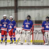 Winnacunnet Goalies Cole Parker and Morgan McGirl prior to the start of the NHIAA DIV II Boys Hockey Preliminary round game between Winnacunnet and Kingswood High Schools on 3-4-2015 at Pop Whalen Ice Arena, Wolfboro, NH WHS-1, KHS-6.  Matt Parker Photos