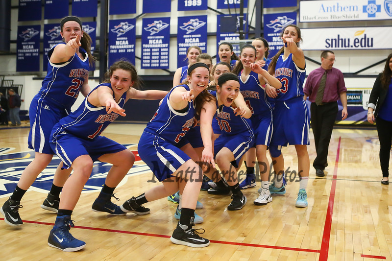 Winnacunnet players are all smiles after winning Monday's Div I Semi-finals Playoff Girls Basketball game over Pinkerton 48 to 41 between Winnacunent and Pinkerton Academy @ SNHU on 3-9-2015.  Matt Parker Photos