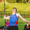 Winnacunnet's Jon Carrigan points his javelin skyward as he runs up to release the javelin for a personal best throw of 145'  during Tuesday's Dual Boys and Girls DIV I Track meet between Winnacunnet and Bedford High Schools on 5-19-2015 @ WHS.  Matt Parker Photos
