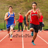 Winnacunnet's Dustin McCann and Bedford's David Norfleet competing in the Boys 100m Dash during Tuesday's Dual Boys and Girls DIV I Track meet between Winnacunnet and Bedford High Schools on 5-19-2015 @ WHS.  Matt Parker Photos
