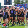 Marshwood players congratulate each other after winning Saturday's Class A Girls Lacrosse Maine State Championship game between Marshwood and Messalonskee High Schools at Fitzpatrick Stadium, Portland ME on 6-20-2015.  Matt Parker Photos