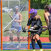 Marshwood's Goal Keeper #54 Emily Kahler controlls the ball after making a save during  Saturday's Class A Girls Lacrosse Maine State Championship game between Marshwood and Messalonskee High Schools at Fitzpatrick Stadium, Portland ME on 6-20-2015.  Matt Parker Photos