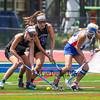 Marshwood's #8 Reagan Nichols, #17 Lindsey Poirier and Eagles #18 Nathalie St. Pierre dig for a loose ball during  Saturday's Class A Girls Lacrosse Maine State Championship game between Marshwood and Messalonskee High Schools at Fitzpatrick Stadium, Portland ME on 6-20-2015.  Matt Parker Photos